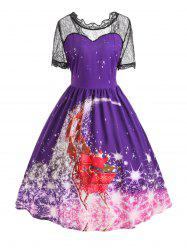 Plus Size Christmas Santa Claus Lace Panel Dress -