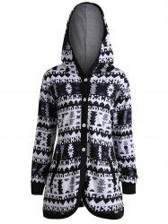 Geometric Button Up Plus Size Hooded Coat -