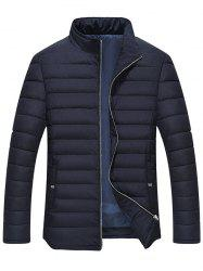 Manteau Matelassé Détail de la Rayure Zipper Up -