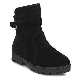 Low Heel Buckle Strap Ankle Boots -