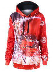 Christmas Plus Size Sled Pattern Tunic Hoodie -