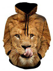 Lion Patterned 3D Animal Print Hoodie -