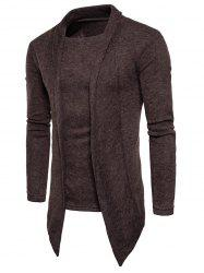 Faux Twinset Panel Asymmetric Knitted Cardigan -