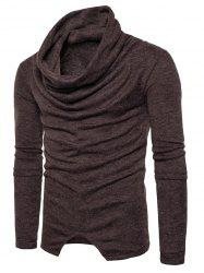 Piles Collar Asymmetric Sweater -