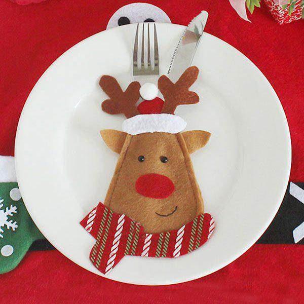 Christmas Elk Shape Knife And Fork Cover BagHOME<br><br>Color: BROWN; Event &amp; Party Item Type: Party Decoration; Occasion: Christmas; Weight: 0.0300kg; Package Contents: 1 x Knife And Fork Bag;