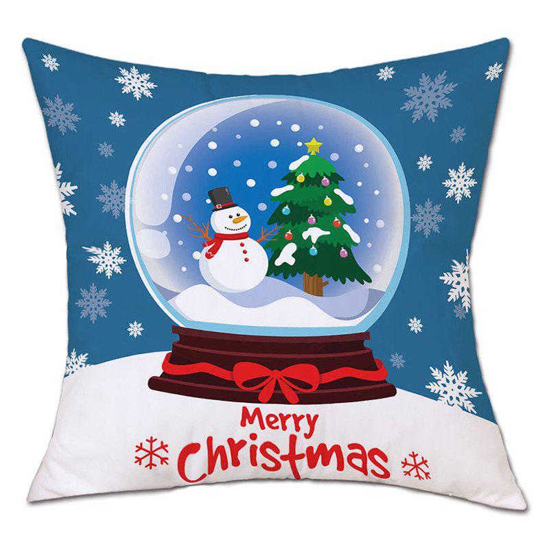 Christmas Crystal Ball Print Decorative Linen PillowcaseHOME<br><br>Size: W18 INCH * L18 INCH; Color: COLORMIX; Material: Linen; Pattern: Animal,Snowman; Style: Festival; Shape: Square; Weight: 0.0900kg; Package Contents: 1 x Pillowcase;