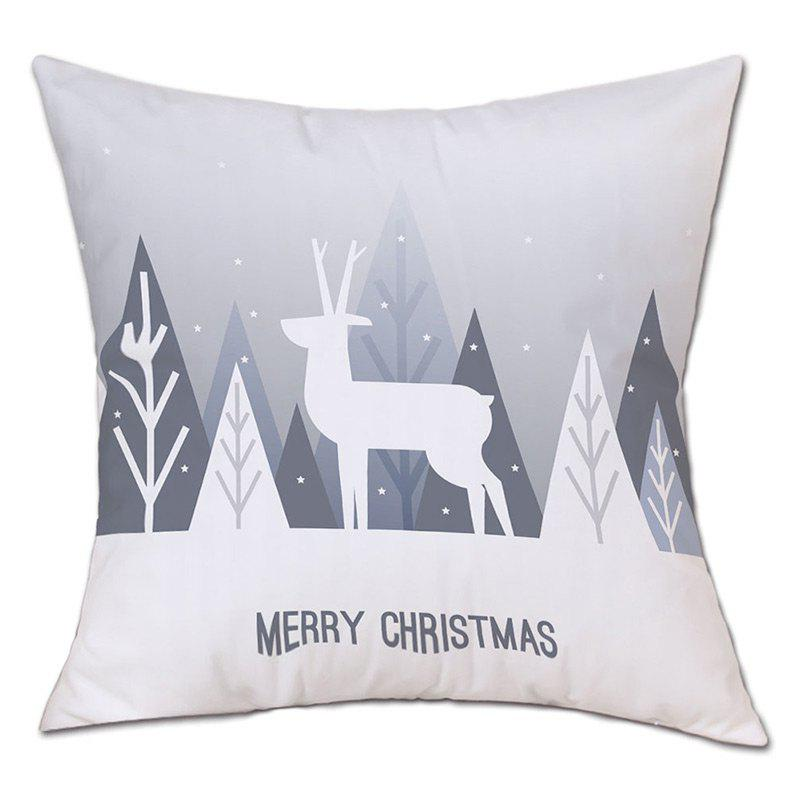 Christmas Deer Forest Print Decorative Linen PillowcaseHOME<br><br>Size: W18 INCH * L18 INCH; Color: WHITE; Material: Linen; Pattern: Animal,Forest; Style: Festival; Shape: Square; Weight: 0.0900kg; Package Contents: 1 x Pillowcase;