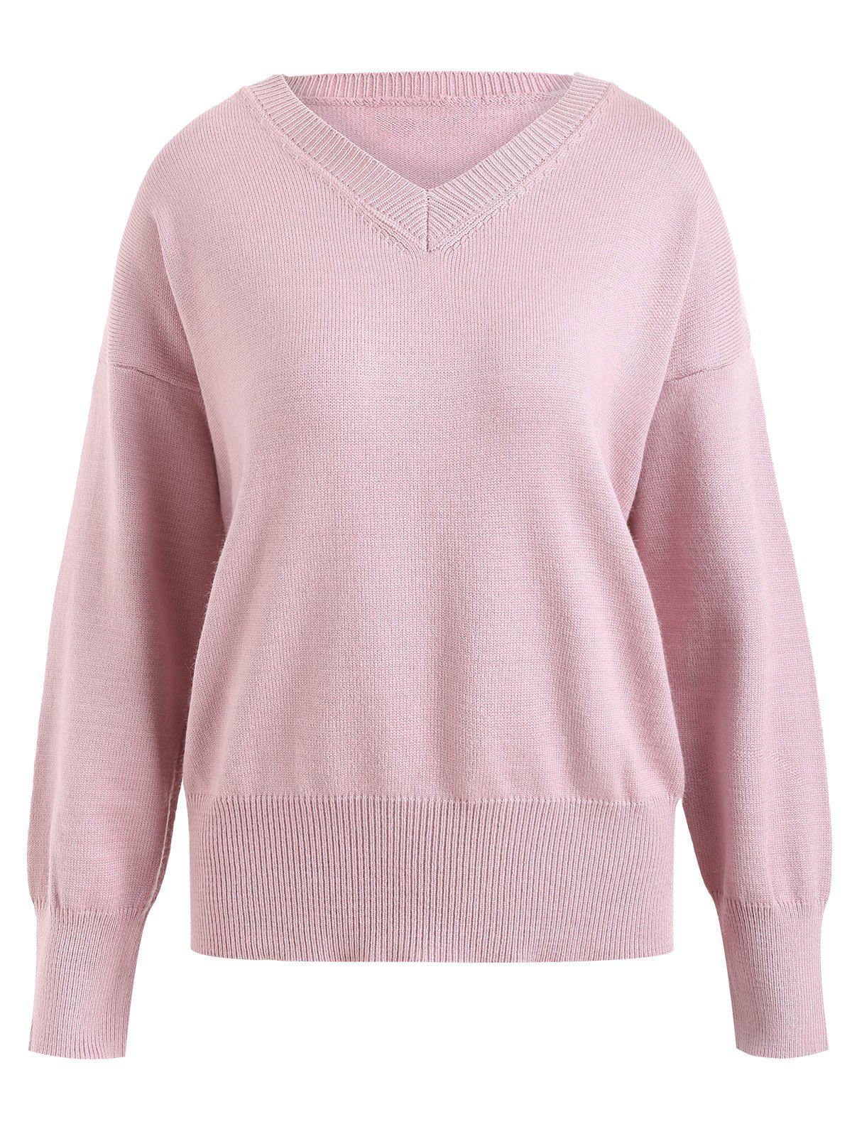 Discount Plus Size Soft Knit V Neck Sweater
