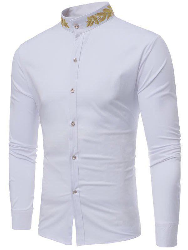 Plant Embroidery Mandarin Collar ShirtMEN<br><br>Size: M; Color: WHITE; Shirts Type: Casual Shirts; Material: Cotton,Polyester,Spandex; Sleeve Length: Full; Collar: Mandarin Collar; Pattern Type: Plant; Weight: 0.3200kg; Package Contents: 1 x Shirt;