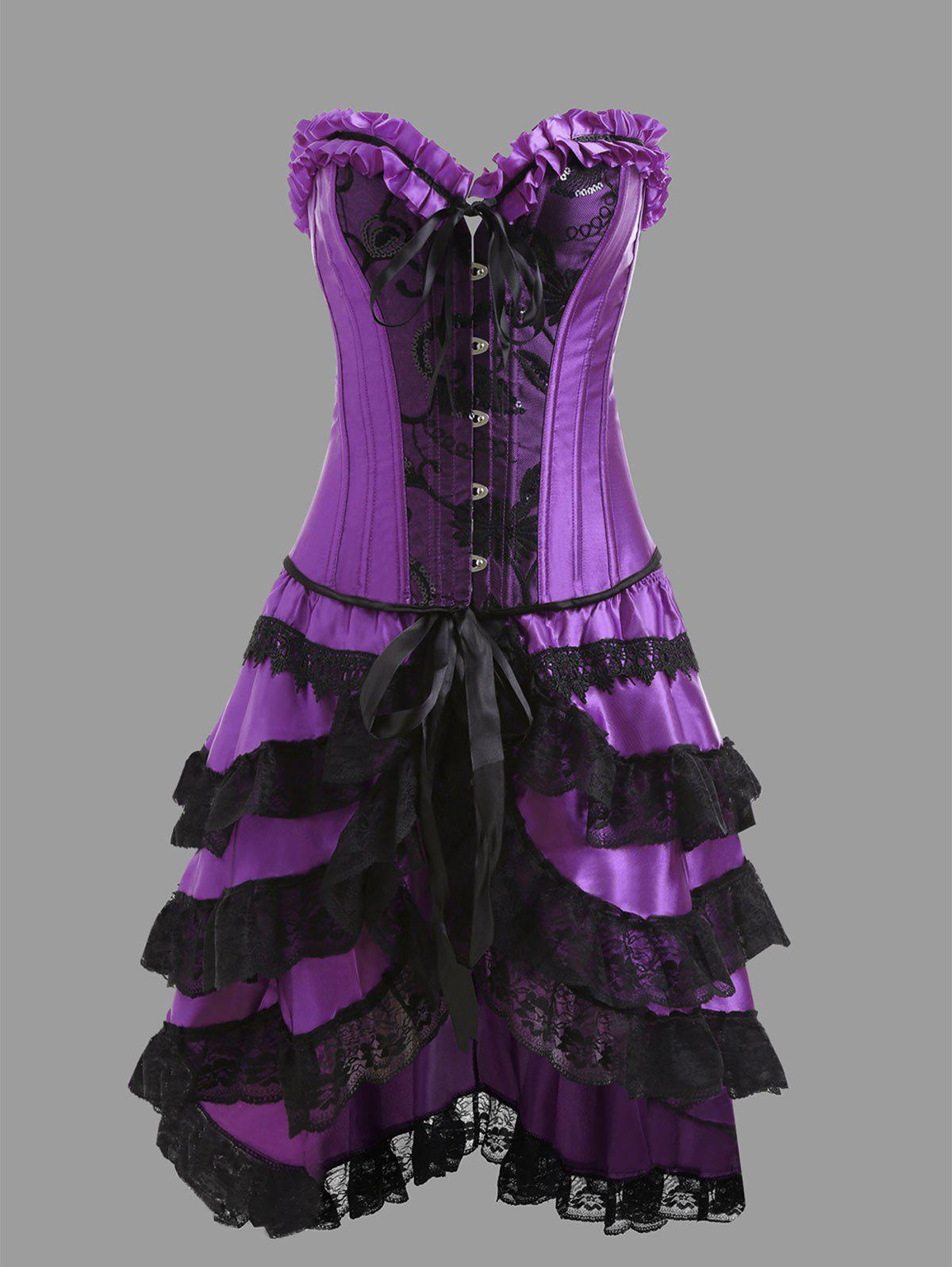 Underbust Corset with Flounce Lace SkirtWOMEN<br><br>Size: 2XL; Color: PURPLE; Material: Polyester,Spandex; Pattern Type: Others; Embellishment: Criss-Cross,Lace,Ruffles; Weight: 0.4100kg; Package Contents: 1 x Corset  1 x Skirt  1 x T Back;