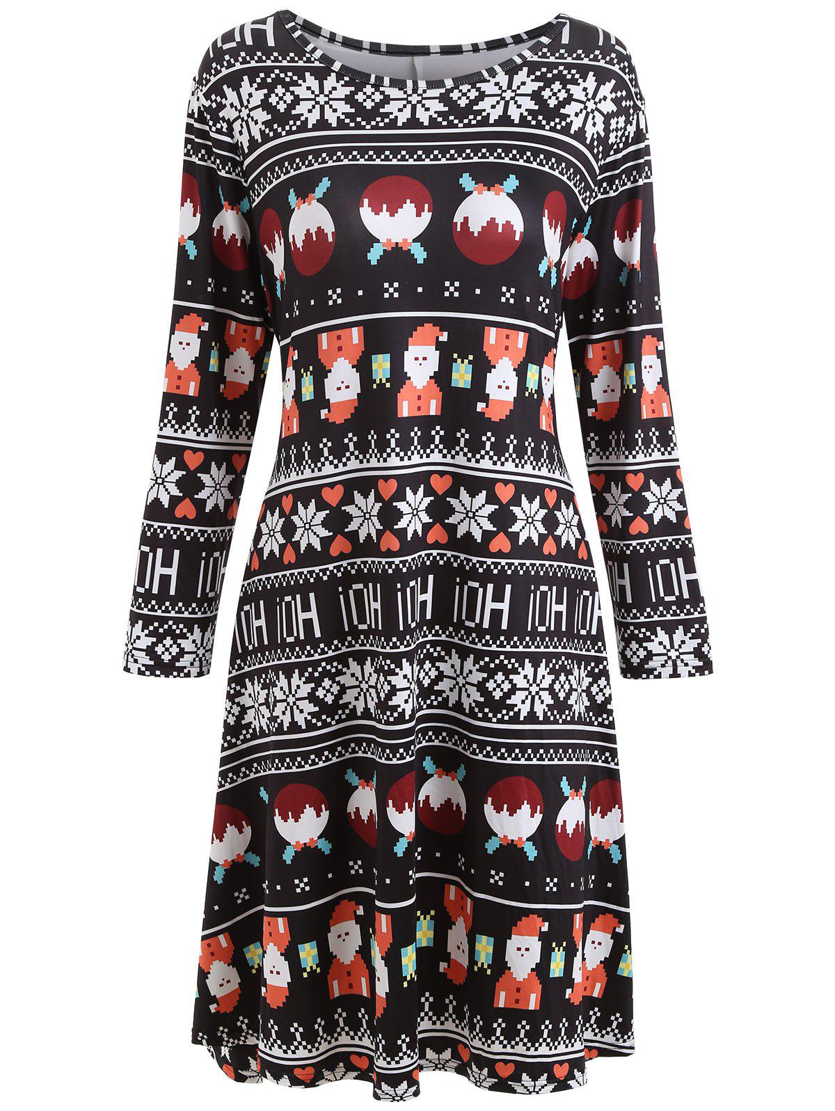 Plus Size Christmas Printed Long Sleeve DressWOMEN<br><br>Size: XL; Color: BLACK; Style: Casual; Material: Cotton Blend,Polyester; Silhouette: A-Line; Dresses Length: Knee-Length; Neckline: Round Collar; Sleeve Length: Long Sleeves; Pattern Type: Print; With Belt: No; Season: Fall,Winter; Weight: 0.3600kg; Package Contents: 1 x Dress;