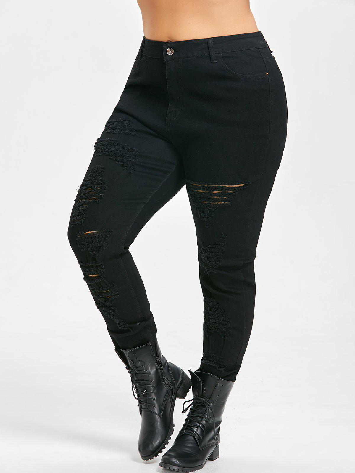 Affordable Plus Size Slim High Waisted Ripped Jeans