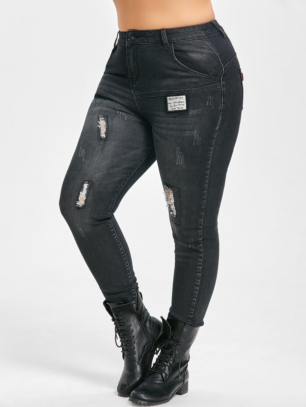 Plus Size Slim Patches Distressed Cigarette JeansWOMEN<br><br>Size: 5XL; Color: BLACK; Style: Fashion; Length: Ninth; Material: Polyester; Fit Type: Skinny; Waist Type: Mid; Closure Type: Zipper Fly; Pattern Type: Others; Embellishment: Spliced; Pant Style: Pencil Pants; Weight: 0.5600kg; Package Contents: 1 x Jeans;