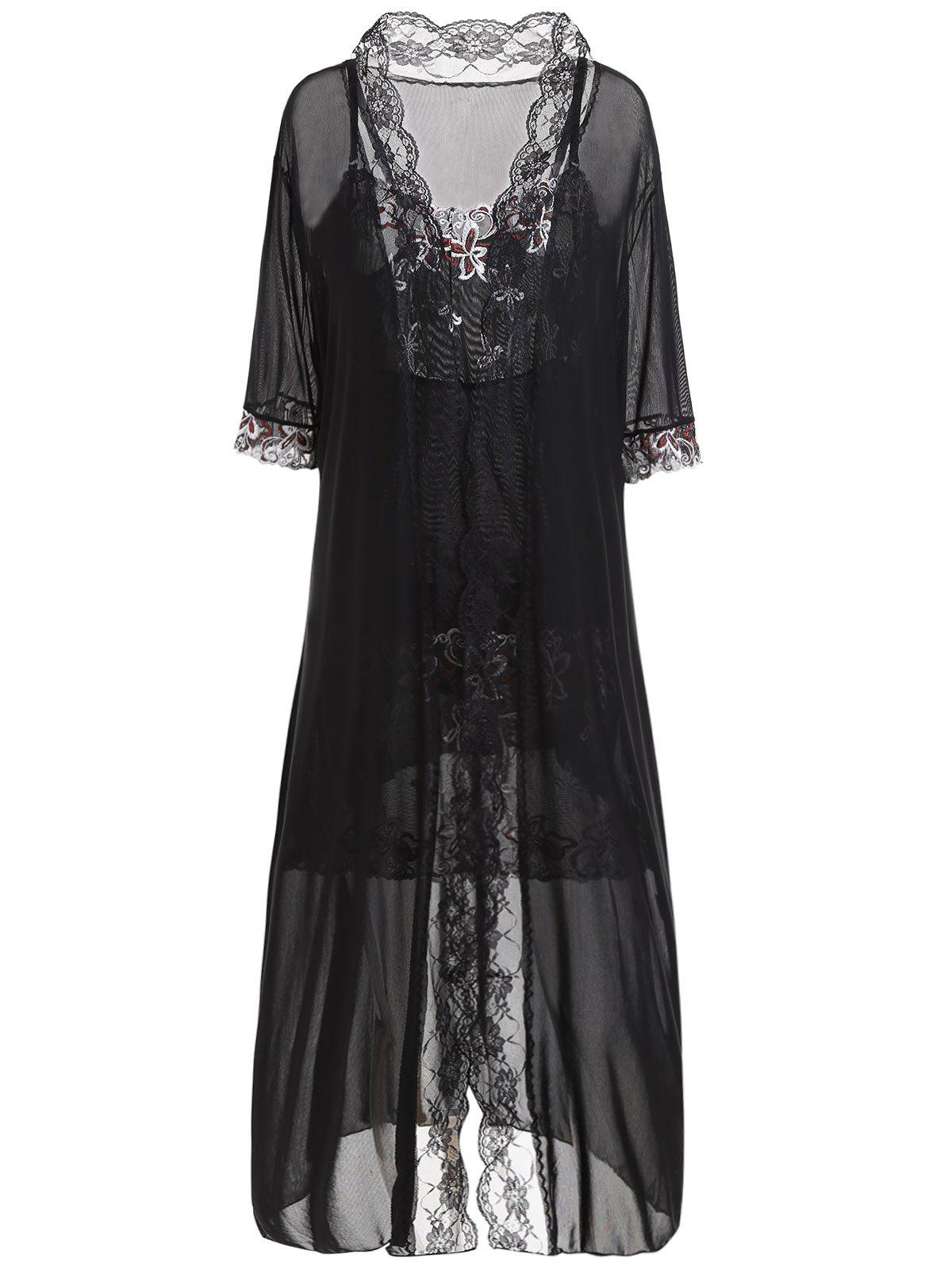 Plus Size Embroidery Slip Dress with RobeWOMEN<br><br>Size: ONE SIZE; Color: BLACK; Material: Nylon,Spandex; Pattern Type: Floral; Embellishment: Embroidery,Lace; Weight: 0.3500kg; Package Contents: 1 x Dress  1 x Robe  1 x T Back;
