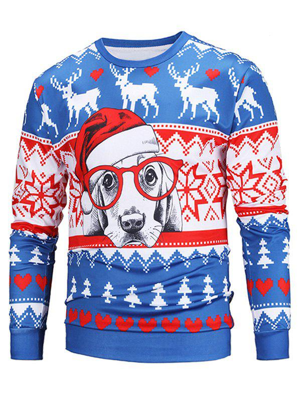 Outfits Christmas 3D Dog Print Pullover Sweatshirt