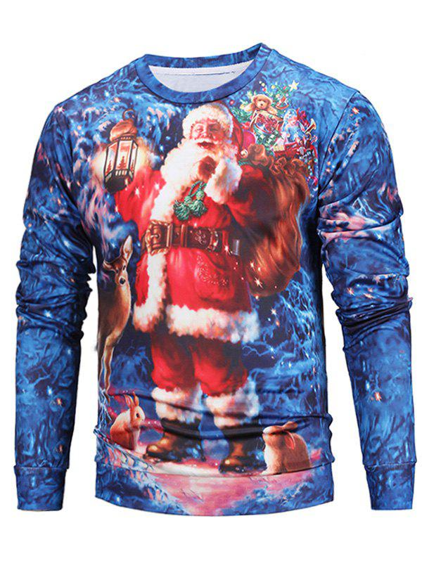 Christmas 3D Santa Print Pullover SweatshirtMEN<br><br>Size: L; Color: COLORMIX; Material: Cotton,Polyester; Shirt Length: Regular; Sleeve Length: Full; Style: Fashion; Weight: 0.3800kg; Package Contents: 1 x Sweatshirt;