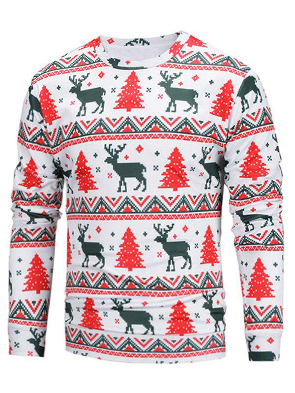 Christmas 3D Elk Print Pullover SweatshirtMEN<br><br>Size: L; Color: COLORMIX; Material: Cotton,Polyester; Shirt Length: Regular; Sleeve Length: Full; Style: Fashion; Weight: 0.3800kg; Package Contents: 1 x Sweatshirt;