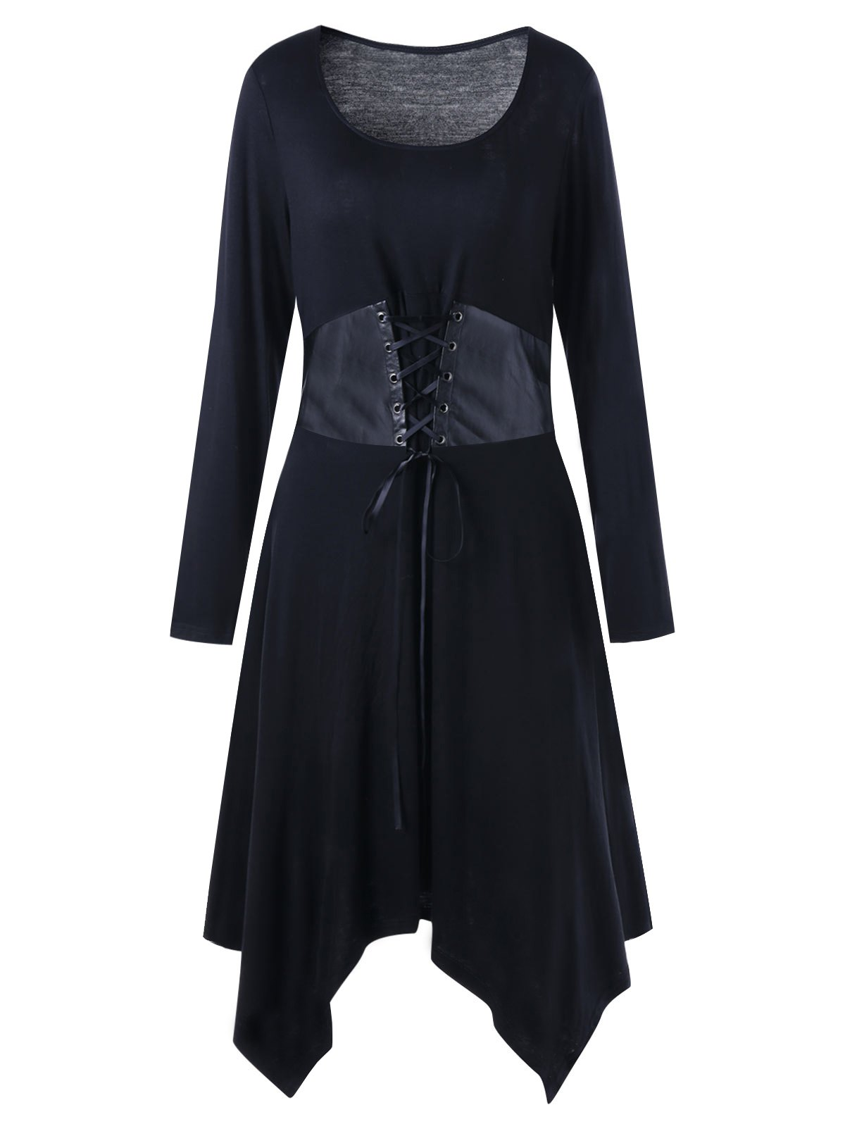 Long Sleeve Belted Plus Size Handkerchief DressWOMEN<br><br>Size: 2XL; Color: BLACK; Style: Casual; Material: Polyester,Spandex; Silhouette: Asymmetrical; Dresses Length: Mid-Calf; Neckline: Scoop Neck; Sleeve Length: Long Sleeves; Waist: Empire; Embellishment: Criss-Cross; Pattern Type: Solid Color; Elasticity: Elastic; With Belt: No; Season: Fall,Spring,Winter; Weight: 0.3800kg; Package Contents: 1 x Dress;