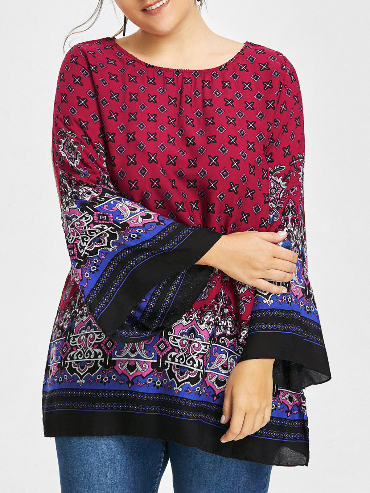 Plus Size Tribe Print Bell Sleeve BlouseWOMEN<br><br>Size: 5XL; Color: WINE RED; Material: Polyester; Shirt Length: Long; Sleeve Length: Full; Collar: Scoop Neck; Style: Fashion; Season: Fall,Spring; Pattern Type: Print; Weight: 0.2050kg; Package Contents: 1 x Blouse;
