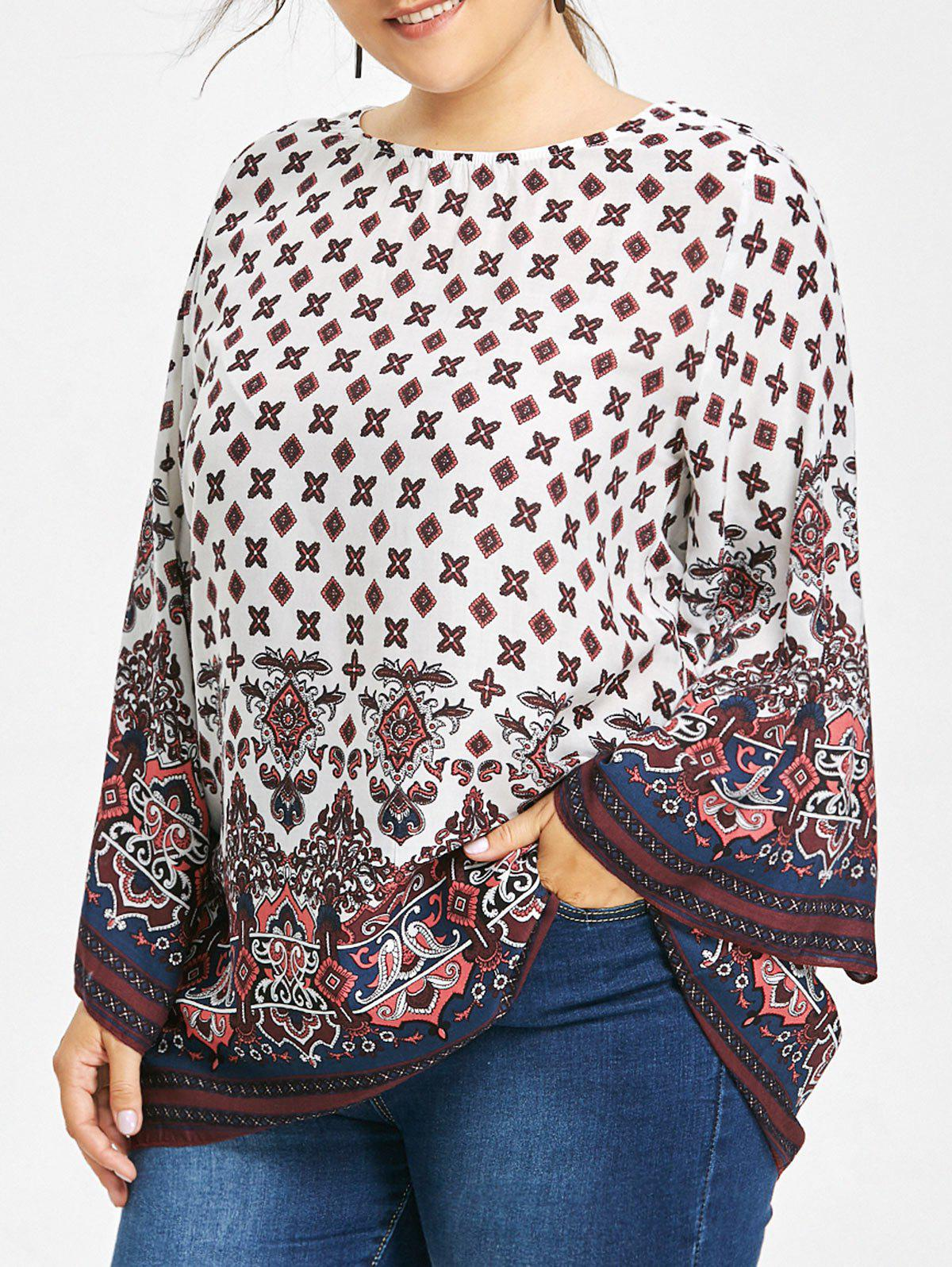 Plus Size Tribe Print Bell Sleeve BlouseWOMEN<br><br>Size: 5XL; Color: WHITE; Material: Polyester; Shirt Length: Long; Sleeve Length: Full; Collar: Scoop Neck; Style: Fashion; Season: Fall,Spring; Pattern Type: Print; Weight: 0.2050kg; Package Contents: 1 x Blouse;