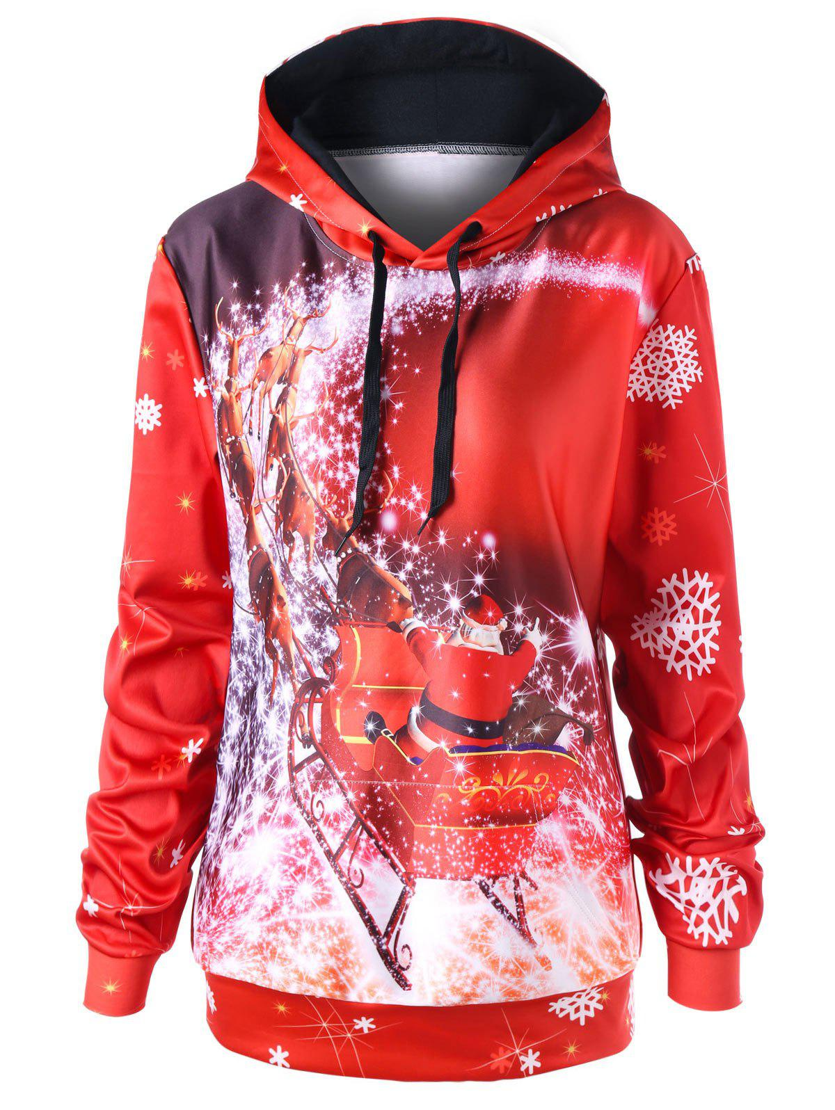 Sale Christmas Plus Size Sled Pattern Tunic Hoodie