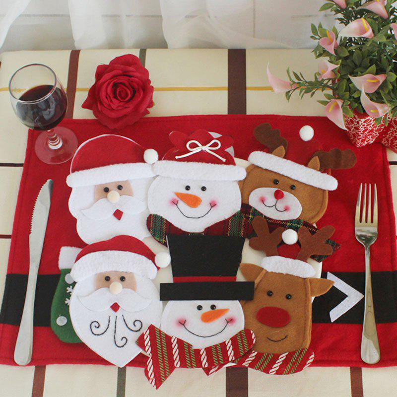 6Pcs Christmas Tableware Decor Knives And Forks BagsHOME<br><br>Color: COLORFUL; Event &amp; Party Item Type: Party Decoration; Occasion: Christmas; Weight: 0.0900kg; Package Contents: 6 x Knives And Forks Bags (Pcs);