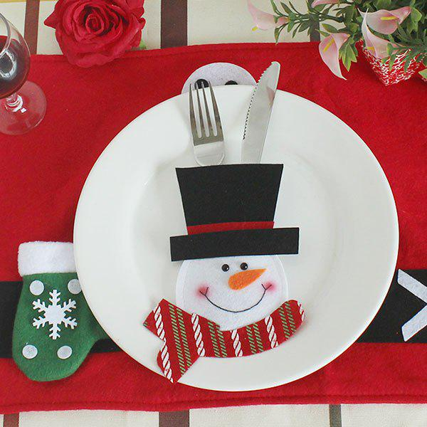 Christmas Snowman Knife And Fork Bag Table DecorationHOME<br><br>Color: BLACK AND WHITE AND RED; Event &amp; Party Item Type: Party Decoration; Occasion: Christmas; Weight: 0.0300kg; Package Contents: 1 x Knife And Fork Bag;