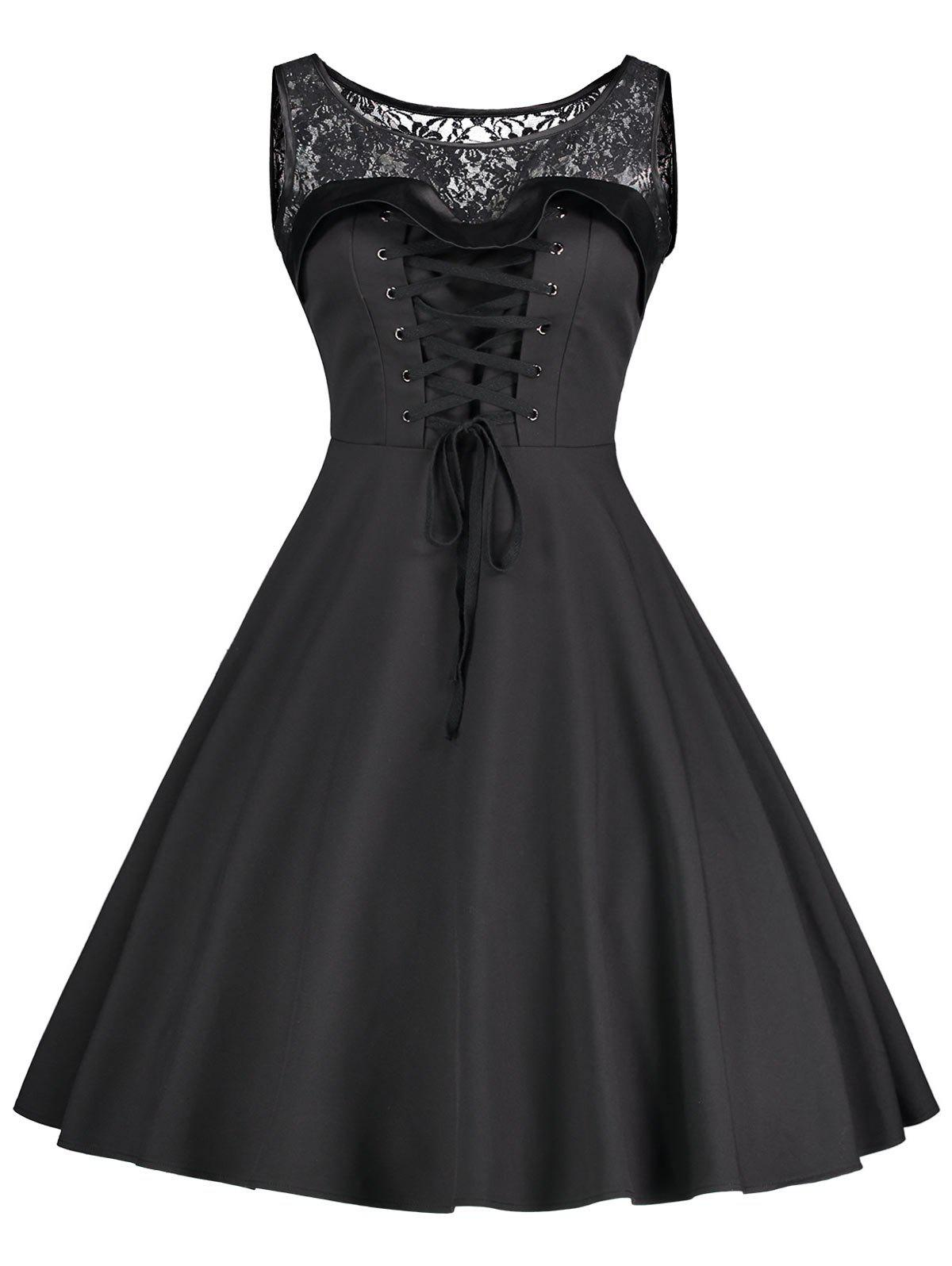 Sleeveless Lace Up Fit and Flare DressWOMEN<br><br>Size: 2XL; Color: BLACK; Style: Vintage; Material: Polyester; Silhouette: A-Line; Dresses Length: Mid-Calf; Neckline: Round Collar; Sleeve Length: Sleeveless; Embellishment: Lace; Pattern Type: Solid Color; With Belt: No; Season: Fall,Spring; Weight: 0.4000kg; Package Contents: 1 x Dress;