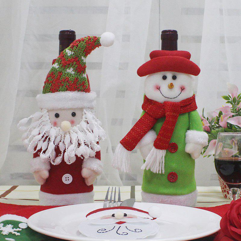 Santa Claus and Snowman Shape 2Pcs Winebottle CoversHOME<br><br>Color: COLORFUL; Event &amp; Party Item Type: Party Decoration; Occasion: Christmas,Party; Weight: 0.1200kg; Package Contents: 2 x Winebottle Covers (Pieces);