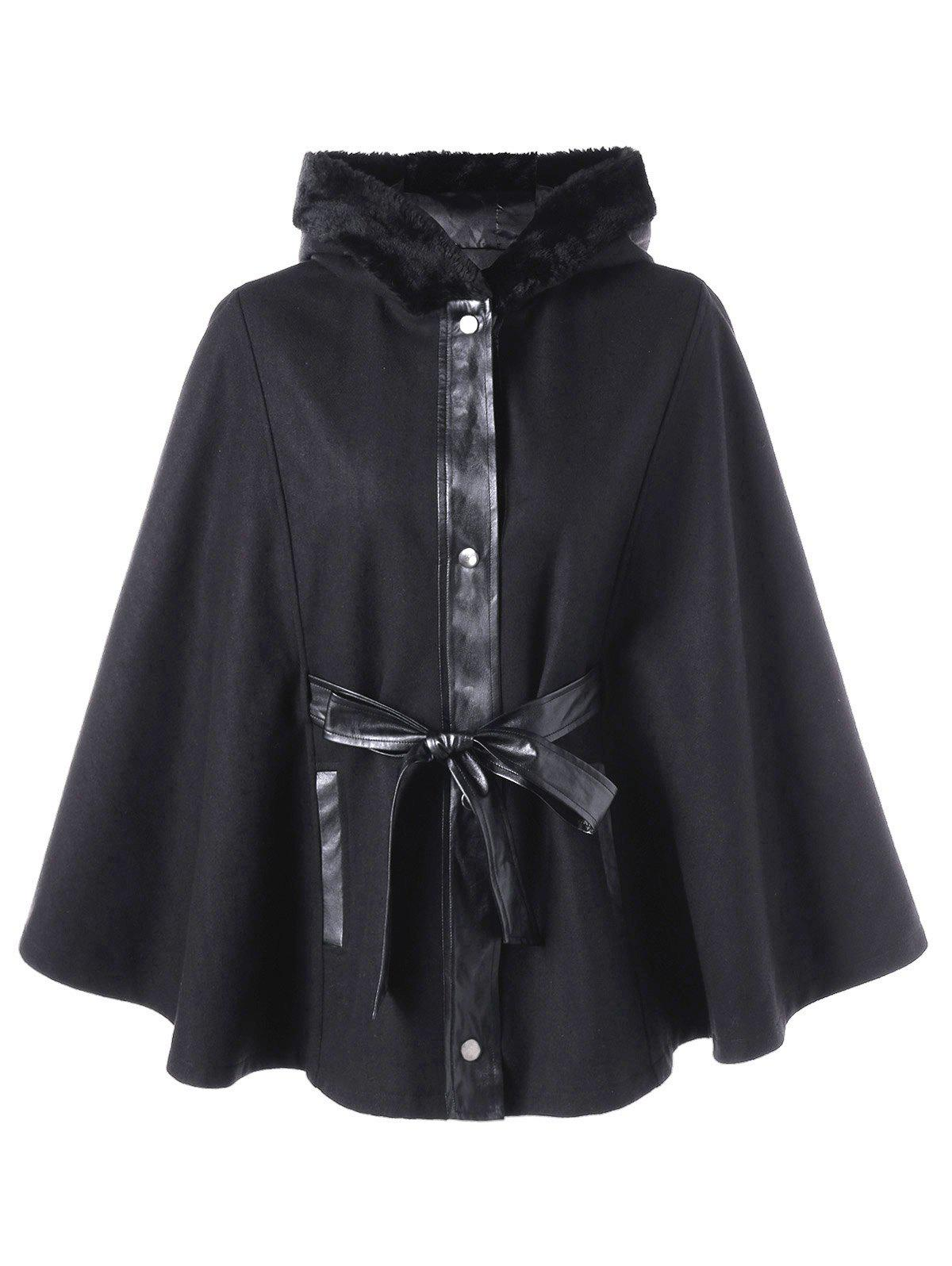 Plus Size Hooded Swing Coat with Tie BeltWOMEN<br><br>Size: XL; Color: BLACK; Clothes Type: Wool &amp; Blends; Material: Polyester; Type: Bat Sleeved; Shirt Length: Long; Sleeve Length: Full; Collar: Hooded; Pattern Type: Solid; Style: Fashion; Season: Fall,Spring; Weight: 0.9700kg; Package Contents: 1 x Coat;