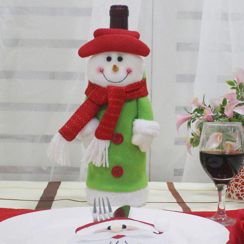 Christmas Snowman Table Decor Shape Winebottle CoverHOME<br><br>Color: GREEN; Event &amp; Party Item Type: Party Decoration; Occasion: Christmas,Party; Material: Non-woven; Weight: 0.0400kg; Package Contents: 1 x Winebottle Cover;