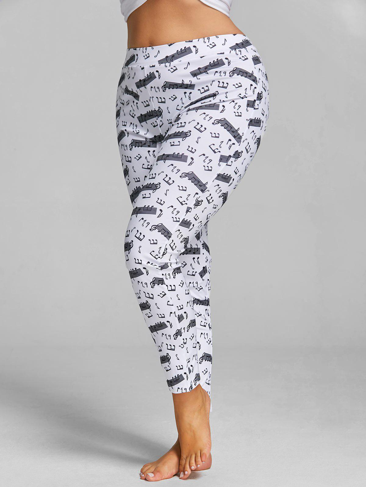 Plus Size Slim Music Notes Printed LeggingsWOMEN<br><br>Size: 5XL; Color: WHITE; Style: Fashion; Length: Normal; Material: Polyester; Fit Type: Skinny; Waist Type: High; Closure Type: Elastic Waist; Pattern Type: Print; Pant Style: Pencil Pants; Elasticity: Elastic; Weight: 0.3500kg; Package Contents: 1 x Leggings;