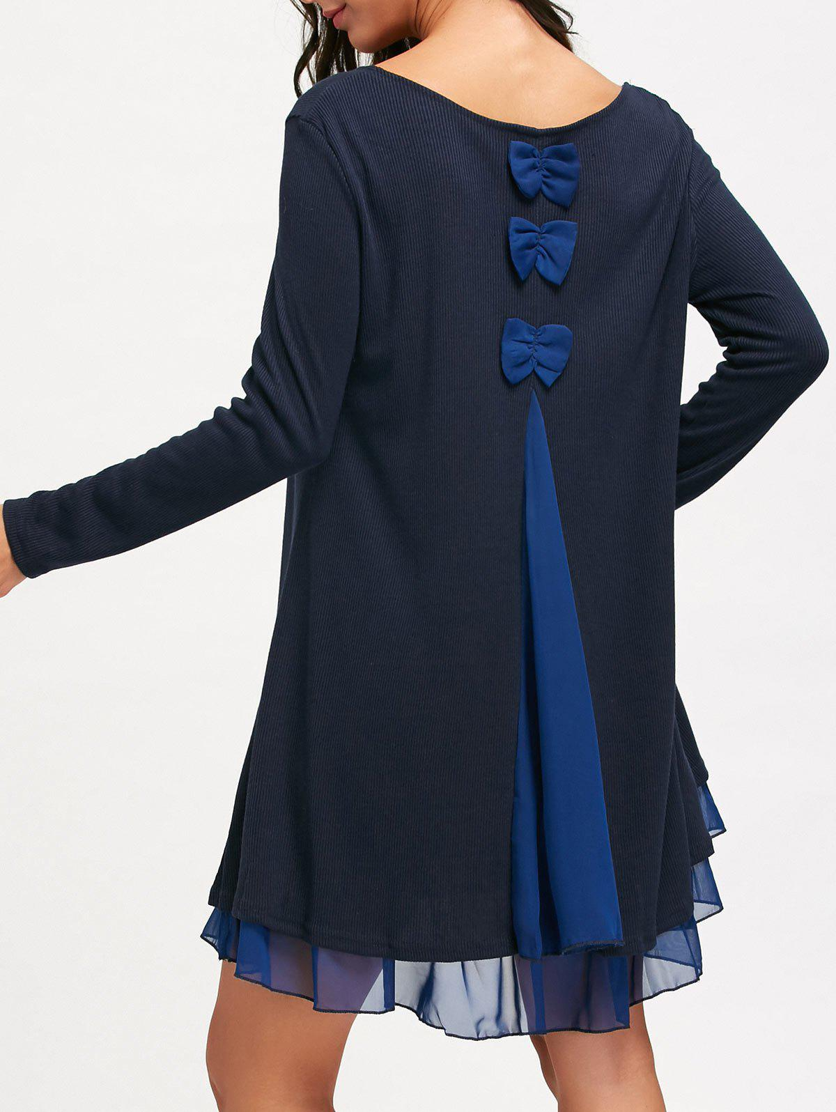 Chiffon Panel Long Sleeve Swing DressWOMEN<br><br>Size: L; Color: PURPLISH BLUE; Style: Casual; Material: Polyester; Silhouette: Shift; Dress Type: Swing Dress; Dresses Length: Mini; Neckline: Scoop Neck; Sleeve Length: Long Sleeves; Embellishment: Panel; Pattern Type: Solid Color; With Belt: No; Season: Fall,Spring,Winter; Weight: 0.5300kg; Package Contents: 1 x Dress; Occasion: Casual;