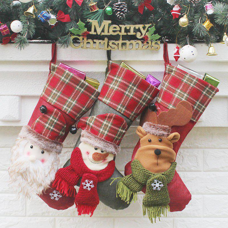 Hanging Decoration Supplies 3Pcs Christmas SocksHOME<br><br>Color: COLORFUL; Occasion: Christmas; Material: Napped Fabric,Wool; Weight: 0.2100kg; Package Contents: 3 x Christmas Socks (Pcs);