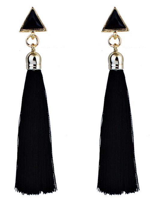 Ethnic Tassel Triangle Drop EarringsJEWELRY<br><br>Color: BLACK; Earring Type: Drop Earrings; Gender: For Women; Style: Trendy; Shape/Pattern: Tassel; Length: 9CM; Weight: 0.0170kg; Package Contents: 1 x Earring (Pair);