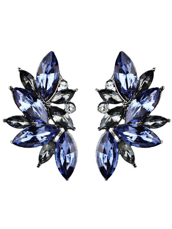 Statement Faux Crystal Rhinestone EarringsJEWELRY<br><br>Color: BLUE; Earring Type: Drop Earrings; Gender: For Women; Style: Trendy; Shape/Pattern: Geometric; Length: 4CM; Weight: 0.0210kg; Package Contents: 1 x Earring (Pair);