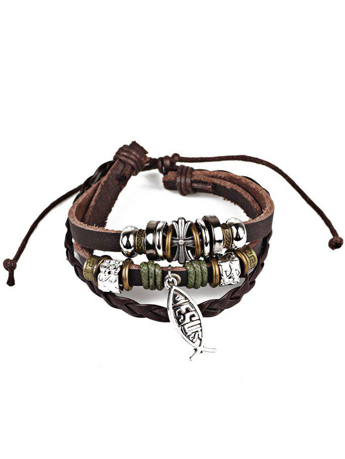 Faux Leather Braid Crucifix Jesus Fish BraceletJEWELRY<br><br>Color: BROWN; Item Type: Charm Bracelet; Gender: For Men; Chain Type: Leather Chain; Style: Trendy; Shape/Pattern: Animal; Length: Adjustable; Weight: 0.0226kg; Package Contents: 1 x Bracelet;