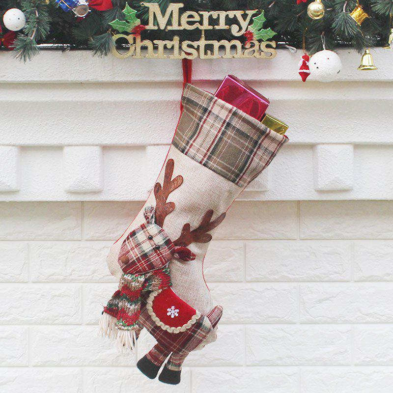 Store Christmas Elk Patterned Decorative Candy Sock