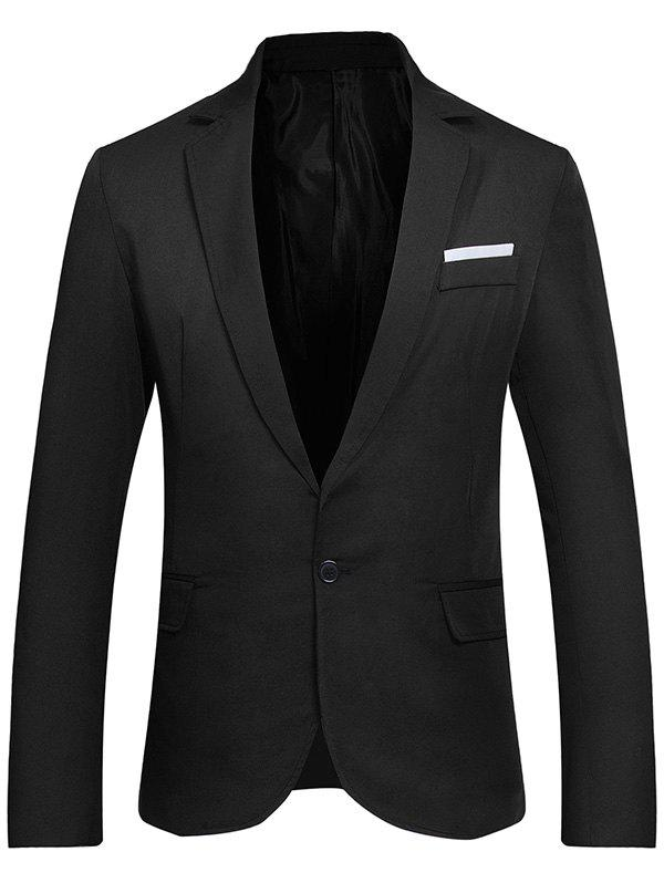Discount Flap Pockets Lapel One Button Formal Blazer