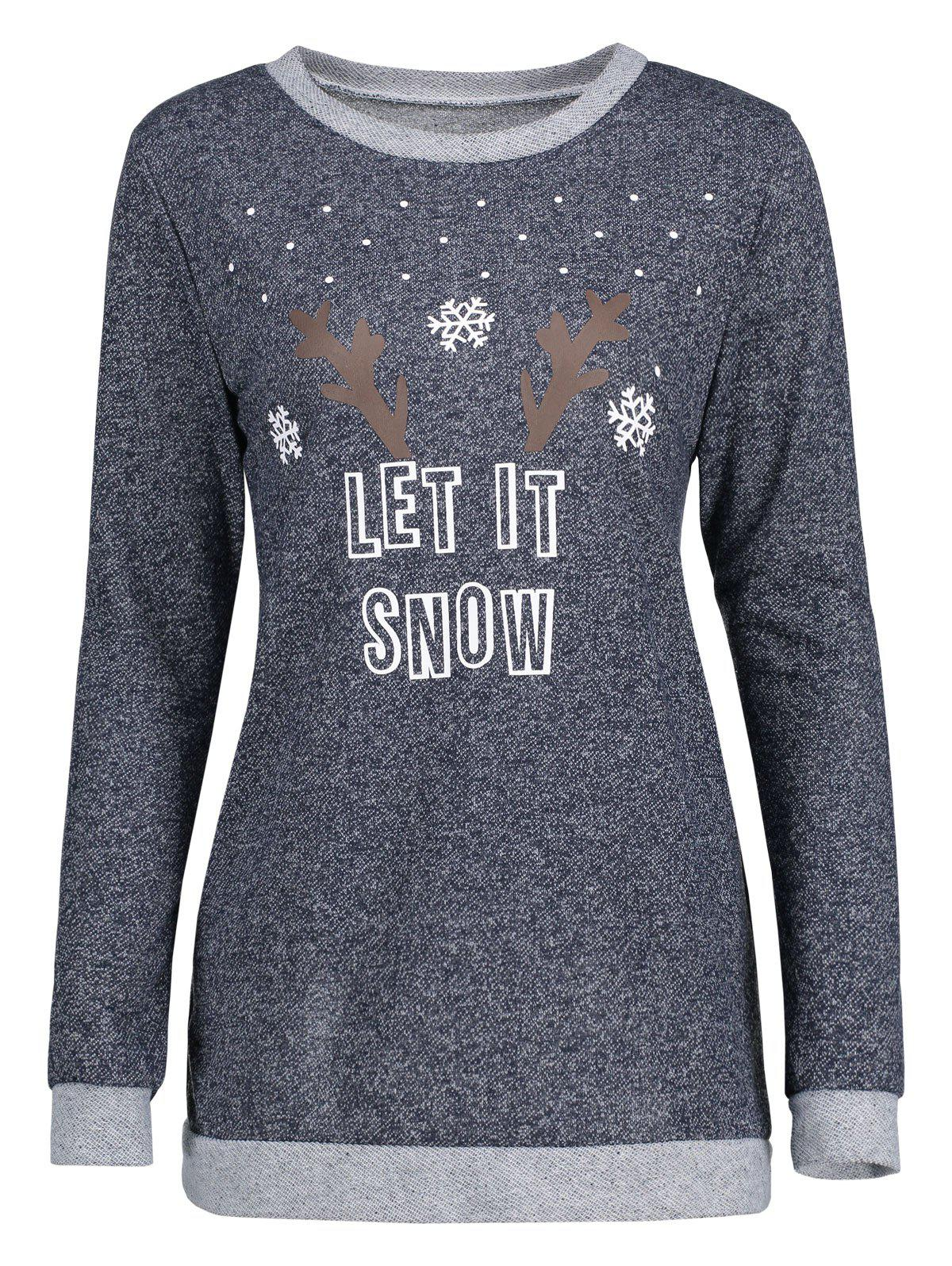 Christmas Let It Snow Snowflake Elk Patterned BlouseWOMEN<br><br>Size: M; Color: DEEP GRAY; Material: Polyester,Spandex; Shirt Length: Regular; Sleeve Length: Full; Collar: Round Neck; Style: Fashion; Pattern Type: Letter; Season: Fall,Spring; Weight: 0.3200kg; Package Contents: 1 x Blouse;