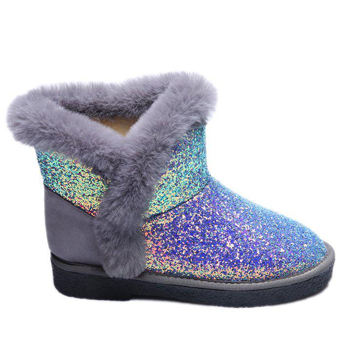 Low Heel Glitter Snow BootsSHOES &amp; BAGS<br><br>Size: 40; Color: SILVER; Gender: For Women; Boot Type: Snow Boots; Boot Height: Ankle; Toe Shape: Round Toe; Heel Type: Low Heel; Heel Height Range: Low(0.75-1.5); Closure Type: Slip-On; Shoe Width: Medium(B/M); Pattern Type: Others; Upper Material: Fur,PU; Weight: 1.1200kg; Season: Spring/Fall,Winter; Package Contents: 1 x Boots (pair);