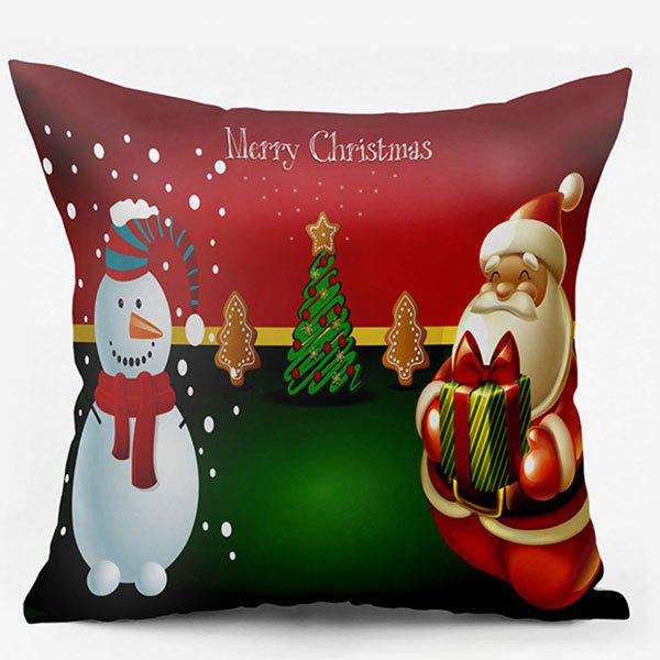 Christmas Snowman Santa Claus Double Side Printed Pillow CaseHOME<br><br>Size: W17.5 INCH * L17.5 INCH; Color: COLORMIX; Material: Polyester / Cotton; Pattern: Christmas Tree,Santa Claus,Snowman; Style: Festival; Shape: Square; Weight: 0.1000kg; Package Contents: 1 x Pillowcase;