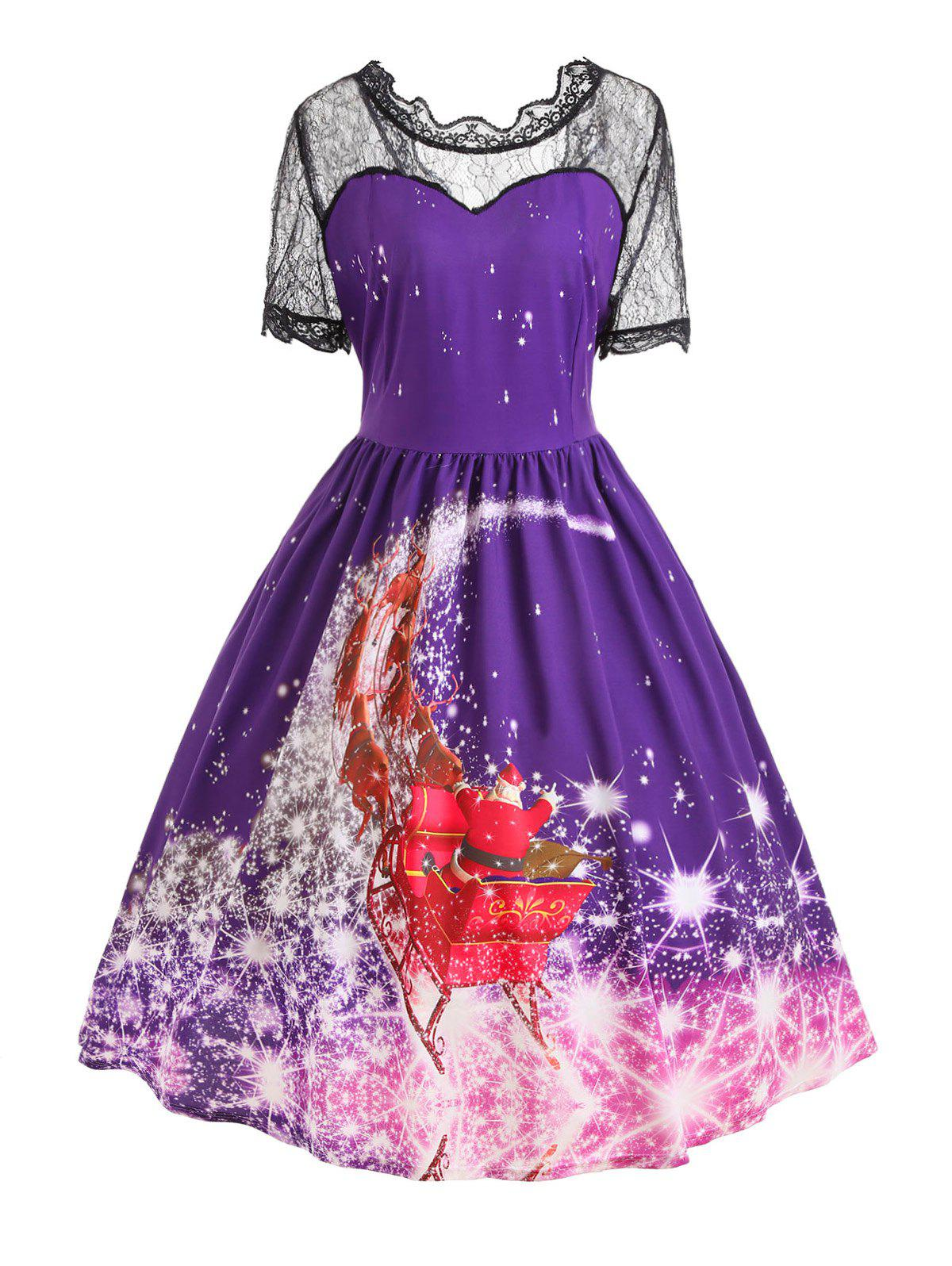 Plus Size Christmas Santa Claus Lace Panel DressWOMEN<br><br>Size: 4XL; Color: PURPLE; Style: Vintage; Material: Polyester; Silhouette: A-Line; Dresses Length: Mid-Calf; Neckline: Ruffled; Sleeve Length: Short Sleeves; Embellishment: Lace; Pattern Type: Print; With Belt: No; Season: Fall,Spring,Summer,Winter; Weight: 0.3100kg; Package Contents: 1 x Dress;