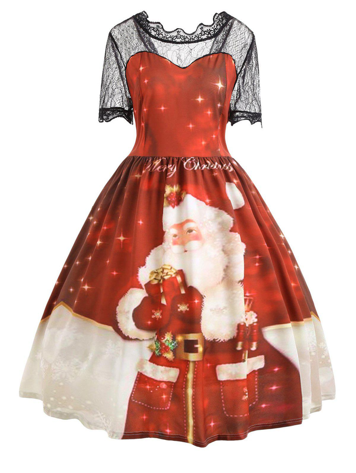 Merry Christmas Santa Claus Plus Size Lace DressWOMEN<br><br>Size: 4XL; Color: RED; Style: Vintage; Material: Polyester; Silhouette: A-Line; Dresses Length: Mid-Calf; Neckline: Ruffled; Sleeve Length: Short Sleeves; Embellishment: Lace; Pattern Type: Letter,Print; With Belt: No; Season: Fall,Spring,Summer,Winter; Weight: 0.3100kg; Package Contents: 1 x Dress;