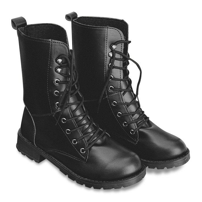 Faux Leather Lace Up Mid Calf BootsSHOES &amp; BAGS<br><br>Size: 42; Color: BLACK; Gender: For Women; Boot Type: Fashion Boots; Boot Height: Mid-Calf; Toe Shape: Round Toe; Heel Type: Low Heel; Heel Height Range: Low(0.75-1.5); Closure Type: Lace-Up; Shoe Width: Medium(B/M); Pattern Type: Solid; Upper Material: PU; Weight: 1.3800kg; Season: Spring/Fall,Winter; Package Contents: 1 x Boots (pair);