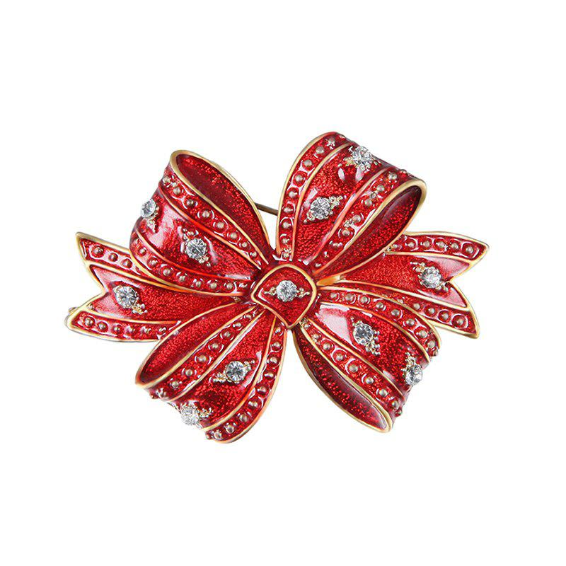 Rhinestone Christmas Tiny Bows BroochJEWELRY<br><br>Color: RED; Brooch Type: Brooch; Gender: For Women; Material: Rhinestone; Style: Trendy; Shape/Pattern: Bowknot; Length: 1.22inch; Weight: 0.0146kg; Package Contents: 1 x Brooch;