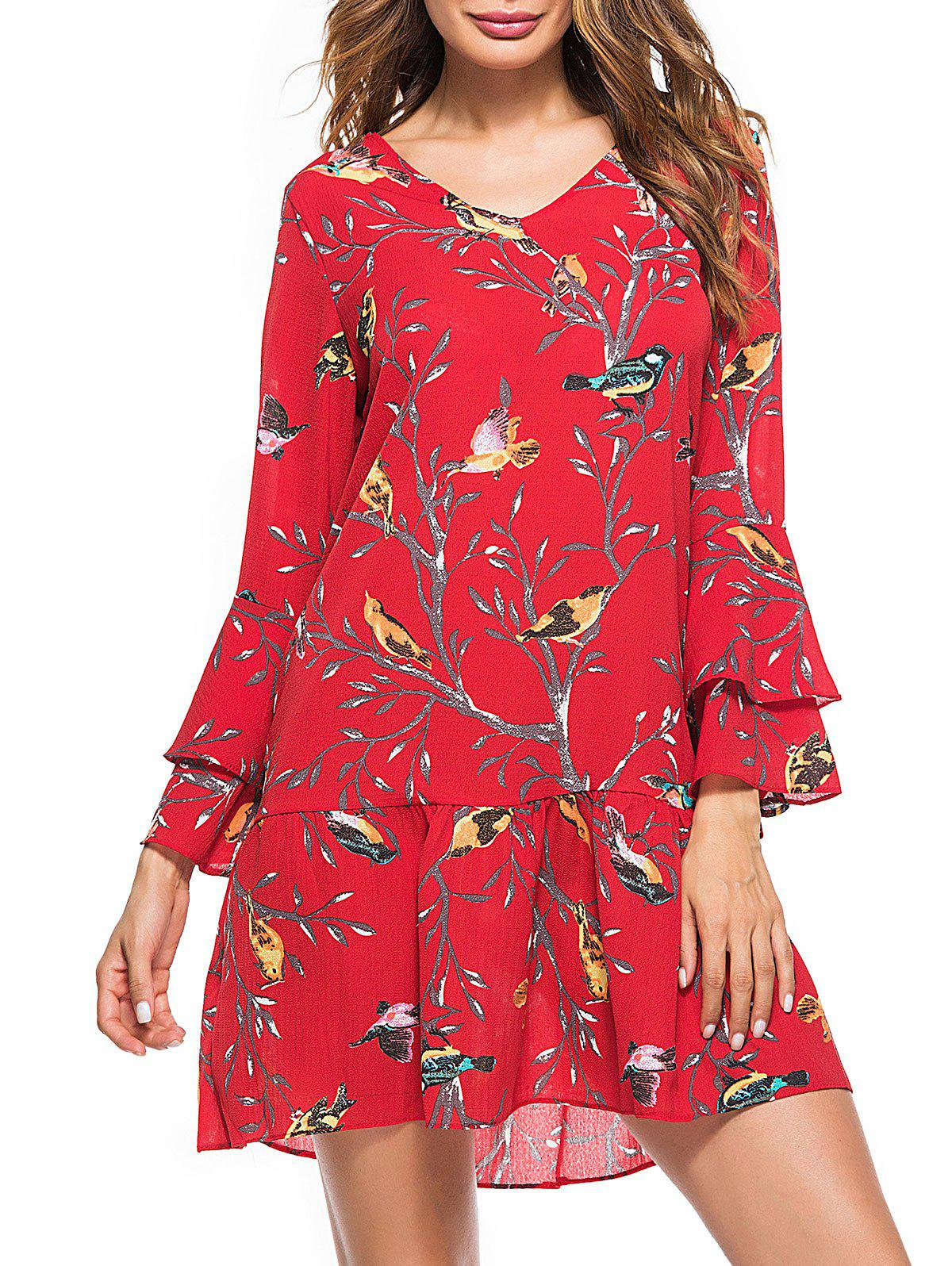 Bell Sleeve Bird Print Drop Waist A Line DressWOMEN<br><br>Size: M; Color: RED; Style: Casual; Material: Polyester; Silhouette: Trumpet/Mermaid; Dresses Length: Mini; Neckline: V-Neck; Sleeve Length: 3/4 Length Sleeves; Waist: Dropped; Pattern Type: Animal; With Belt: No; Season: Fall,Spring; Weight: 0.2100kg; Package Contents: 1 x Dress;