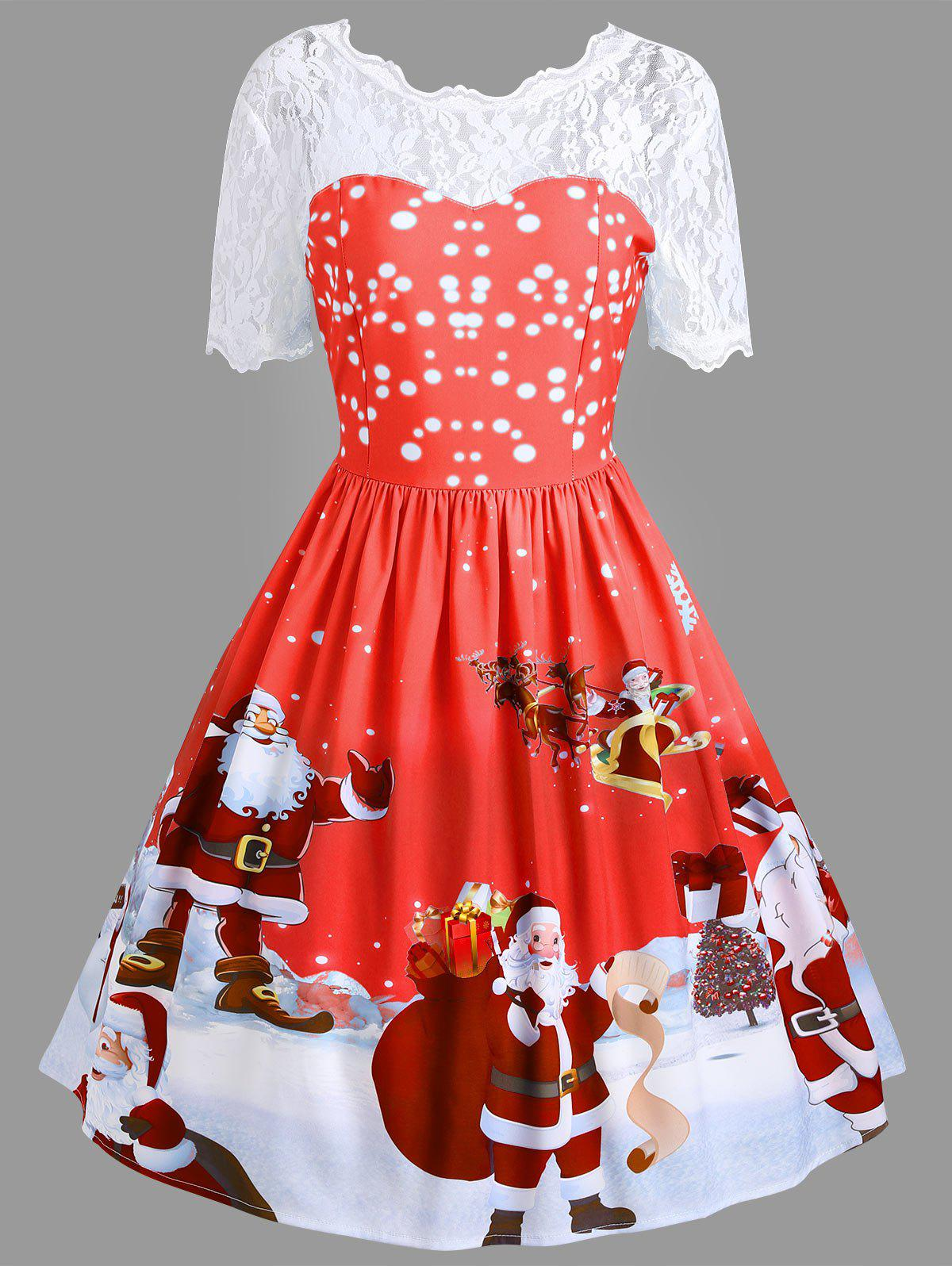 Vintage Lace Insert Santa Claus Print Christmas DressWOMEN<br><br>Size: L; Color: RED; Style: Vintage; Material: Polyester,Spandex; Silhouette: A-Line; Dresses Length: Knee-Length; Neckline: Round Collar; Sleeve Length: Short Sleeves; Pattern Type: Patchwork,Print; With Belt: No; Season: Fall,Spring; Weight: 0.3500kg; Package Contents: 1 x Dress;