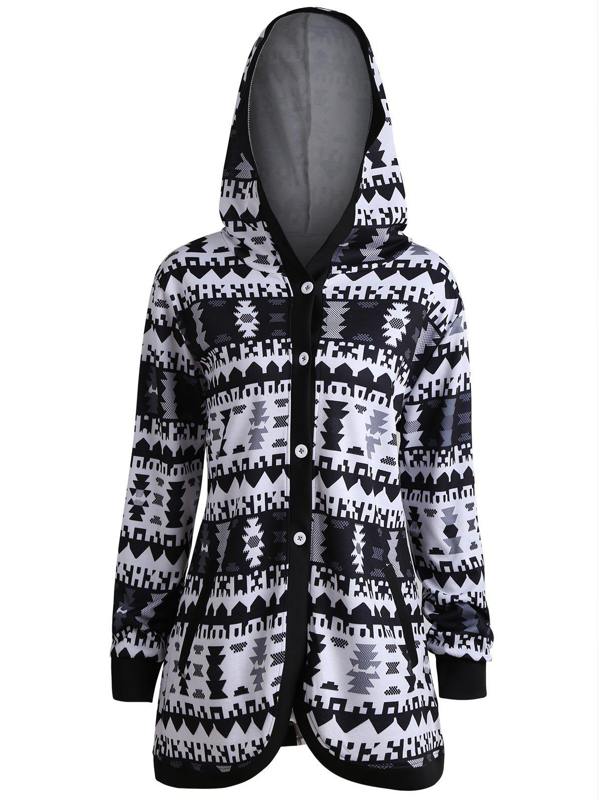 Geometric Button Up Plus Size Hooded CoatWOMEN<br><br>Size: 5XL; Color: BLACK; Clothes Type: Jackets; Material: Cotton Blends,Polyester; Type: Slim; Shirt Length: Regular; Sleeve Length: Full; Collar: Hooded; Closure Type: Single Breasted; Pattern Type: Geometric; Embellishment: Pockets; Style: Fashion; Season: Fall,Winter; Weight: 0.5300kg; Package Contents: 1 x Coat;