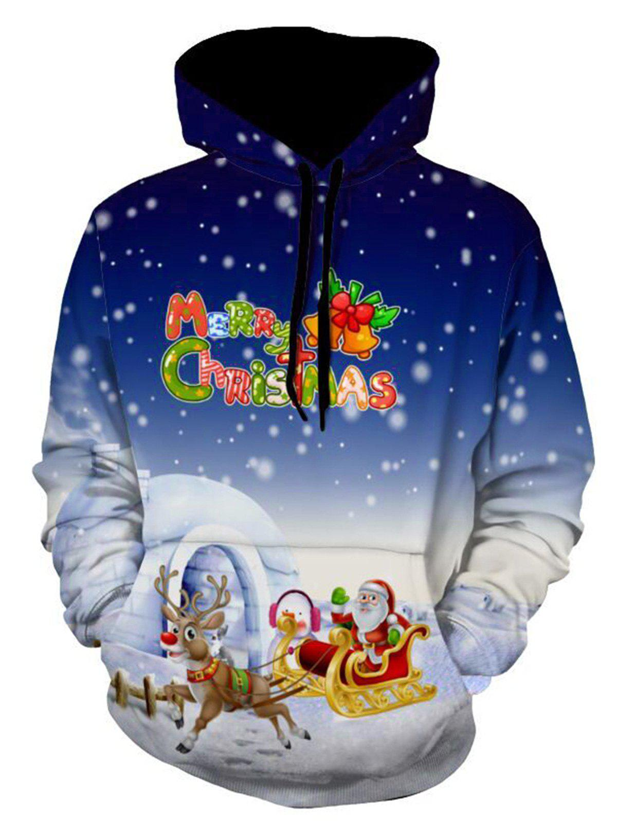 Jingle Bells Santa Clause Christmas Reindeer Pullover HoodieMEN<br><br>Size: L; Color: BLUE; Material: Polyester,Spandex; Clothes Type: Hoodie; Shirt Length: Regular; Sleeve Length: Full; Style: Fashion; Patterns: Cartoon,Letter,Print; Thickness: Regular; Occasion: Casual,Daily Use,Going Out; Weight: 0.5600kg; Package Contents: 1 x Hoodie;